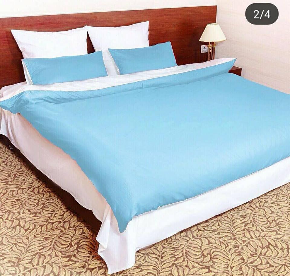 """Полуторное постельное белье сатин """"Голубой и Белый"""""""