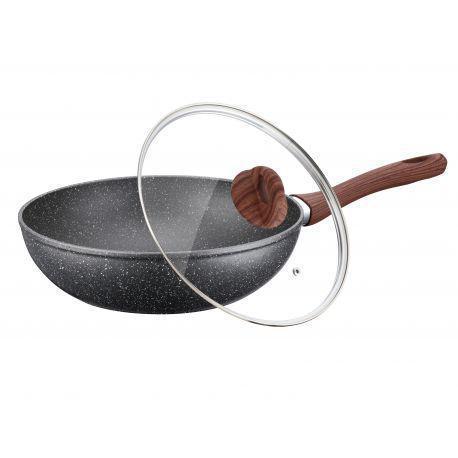 Сковорода ВОК с крышкой 30см из литого алюминия Peterhof PH-25325-30