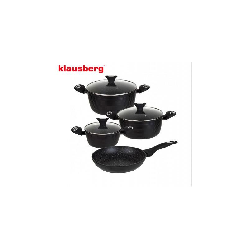 Набор посуды из кованого алюминия с мраморным покрытием 7пр Klausberg KB7243