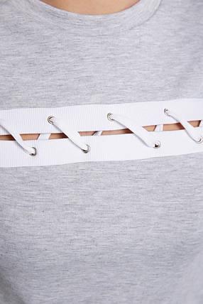 Светло-Серая кофточка со шнуровкой 42 44 46 демисезонная, фото 2