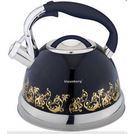 Чайник со свистком 2,8л Klausberg черный KB7055 B, чайники оптом, фото 2