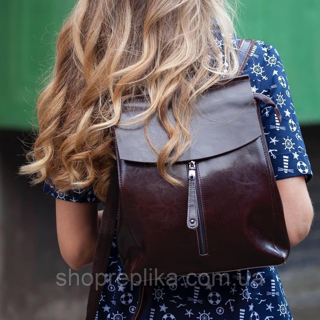 Кожаный рюкзак трансформер кофе , рюкзак сумка трансформер
