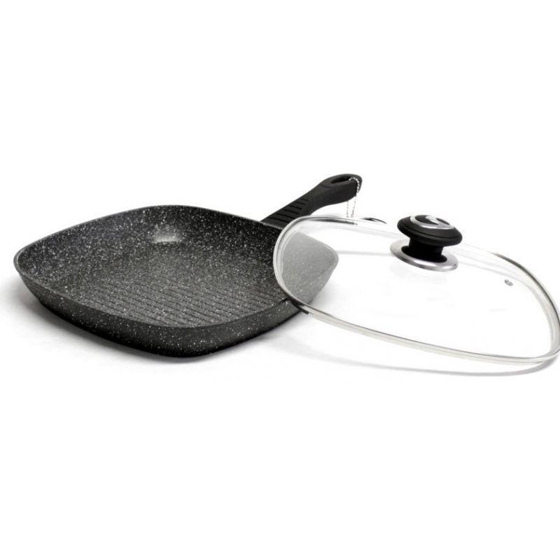Сковорода гриль с крышкой 28см мраморное антипригарное покрытие Vissner VS-7536