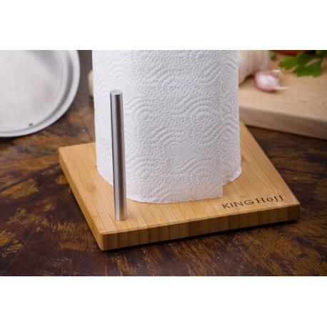Держатель для бумажных полотенец настольный из нержавеющей стали с основанием из бамбука KINGHOFF KH3921