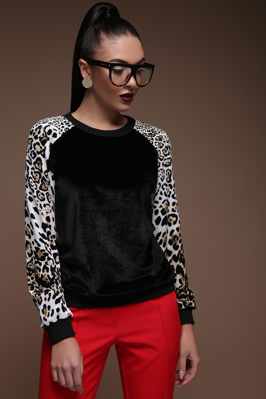 Леопардовый Свитшот велюровый леопард принт 42-50
