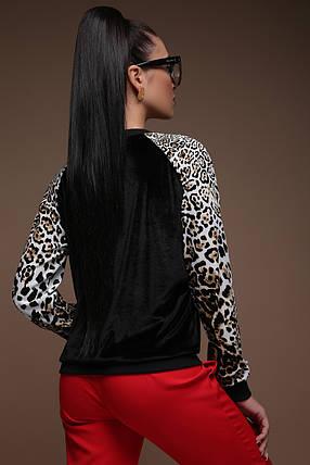 Леопардовый Свитшот велюровый леопард принт 42-50, фото 2