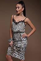 Леопардовая юбка ниже колена леопард принт 42-48