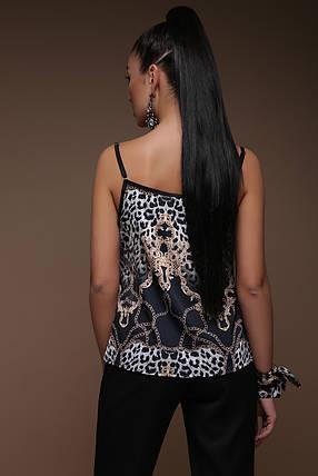 Майка шелковая на бретельках с кружевом принт леопард леопардовый, фото 2