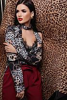 Майка шелковая на бретельках с кружевом принт леопард леопардовый, фото 3