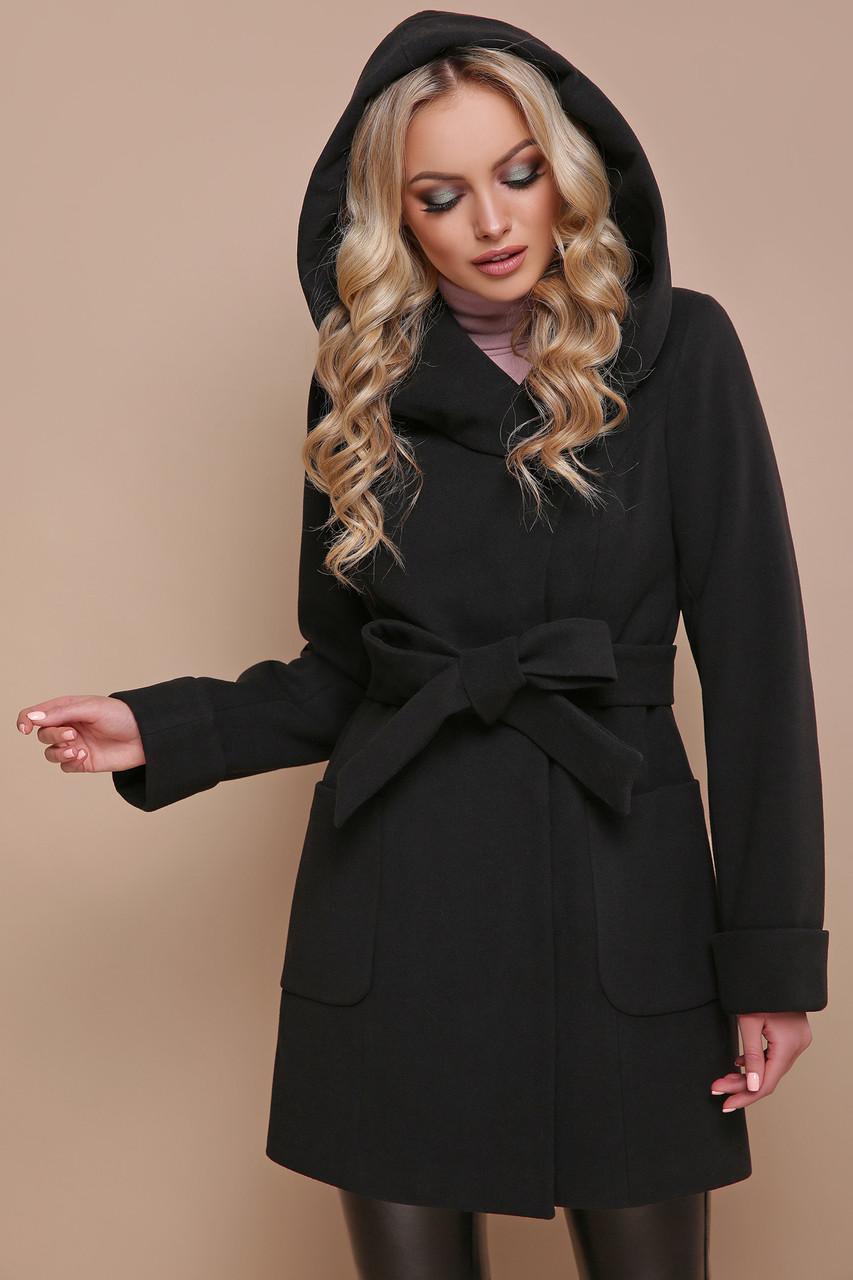 Черное зимнее пальто с капюшоном 42 44 46 48 50 52