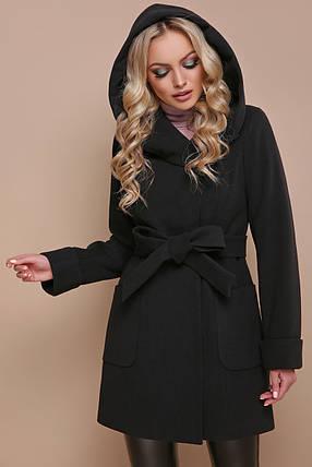 Черное зимнее пальто с капюшоном 42 44 46 48 50 52, фото 2