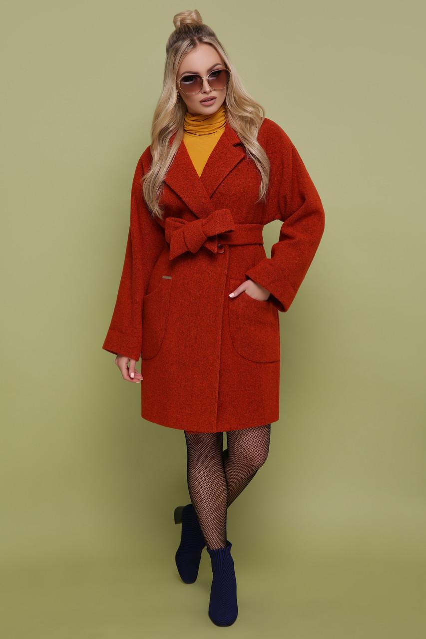 Женское оверсайз пальто с поясом без капюшона шерсть 42 44 46 48 50