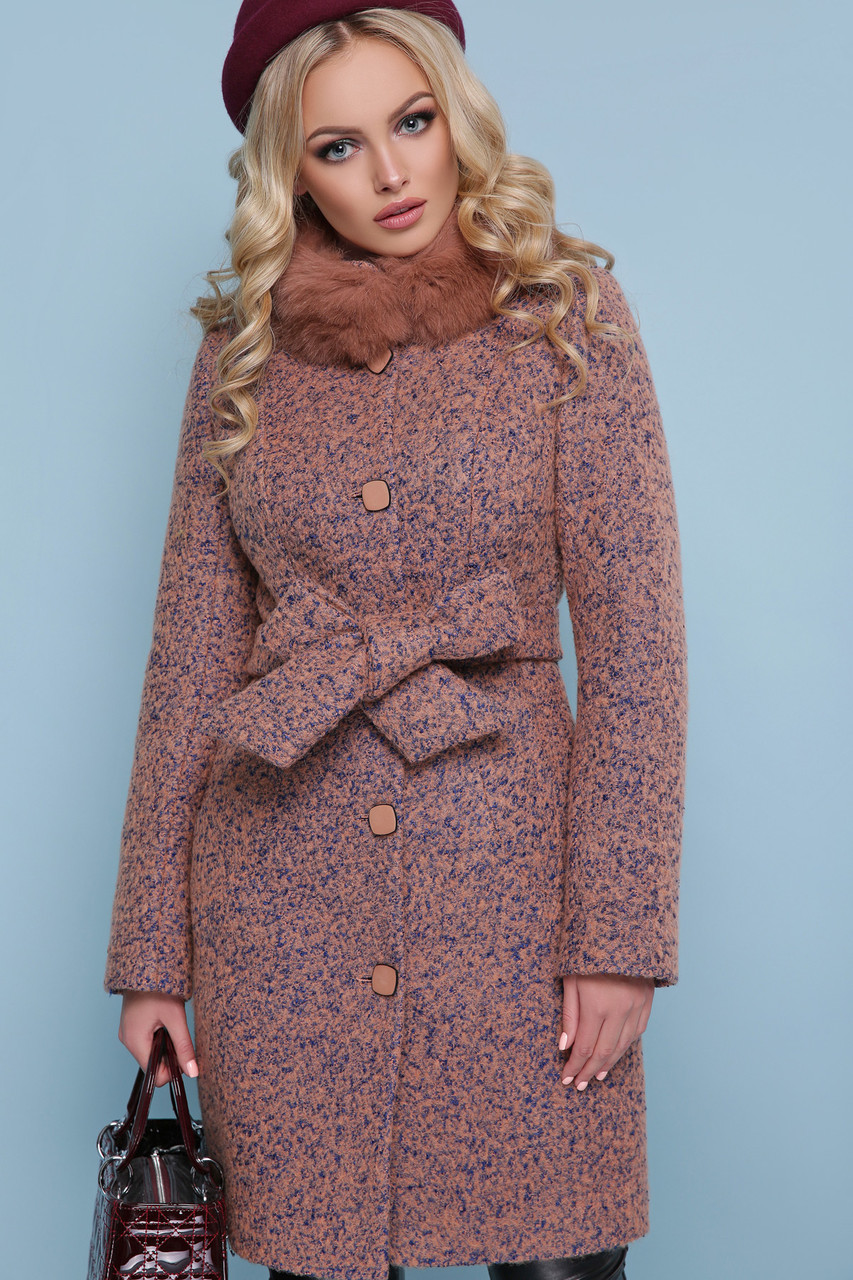 Зимнее пальто с мехом енота шерсть 46 48