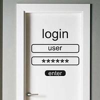 Необычная текстовая наклейка Login (английские слова наклейки, надписи, логин пароль)