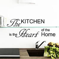 Текстовая наклейка на кухню Kitchen heart of the home (Кухня сердце дома, виниловая, самоклеющаяся)
