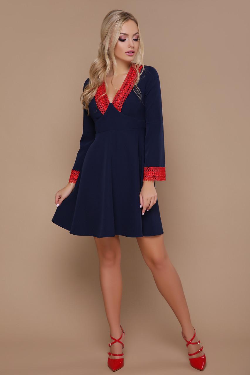 b386c452c10 Классическое простое синее платье с красным воротником офис стиль 42 44 46  - Интернет - магазин
