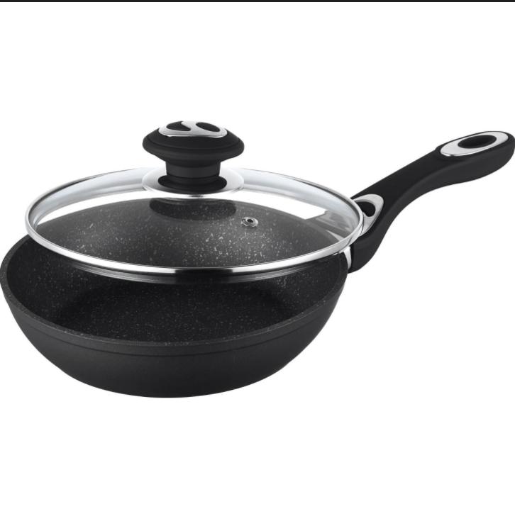 Сковорода с крышкой 20см, алюминий, с мраморным покрытием Rainstahl RS 9512-20