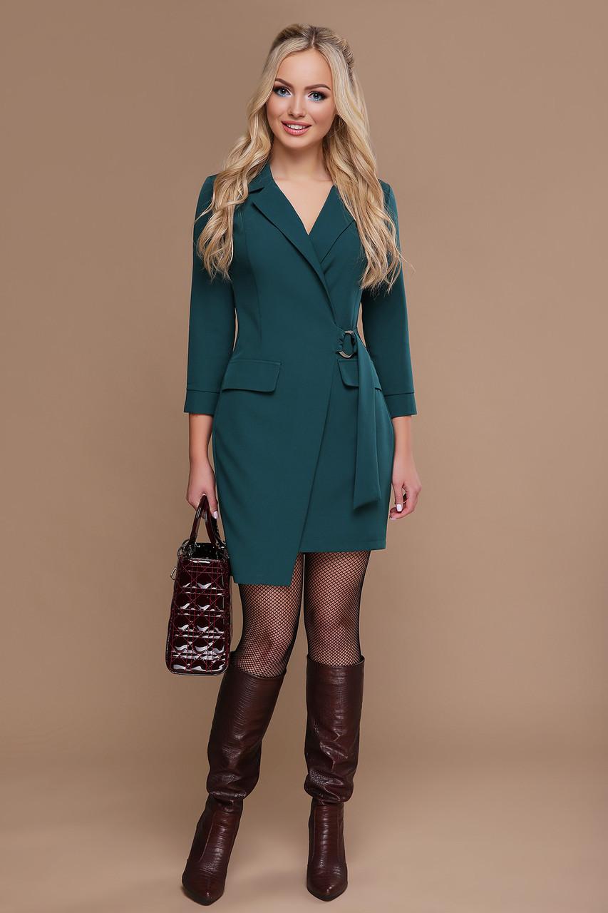 Зеленое платье на запах стильное 42 44 46 48