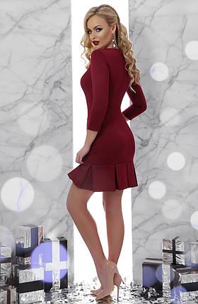 Классическое бордовое платье выше колена 42 44 46 48, фото 2