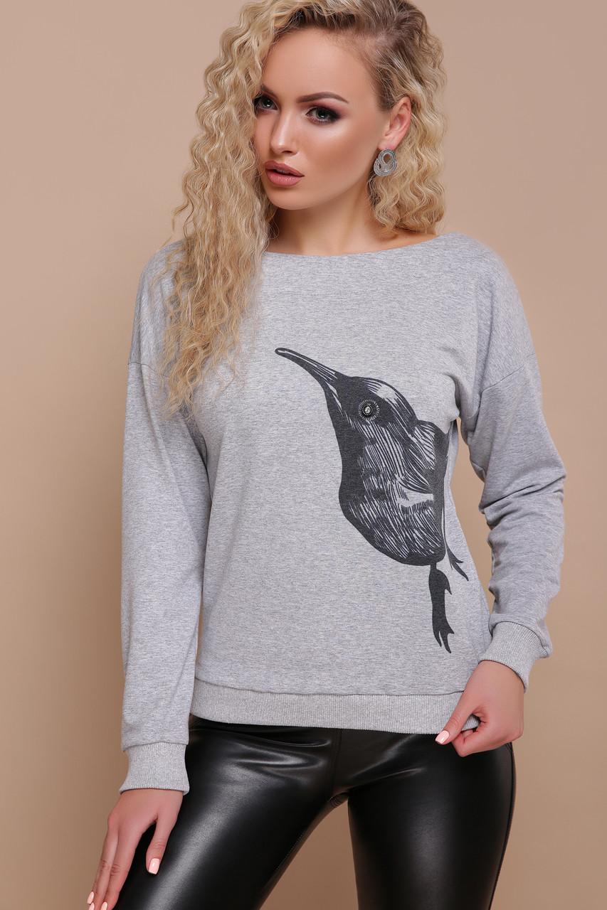 Серый милый свитшот с птицей 42 44 46 48