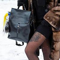 Большой Повседневный кожаный рюкзак сумка трансформер в черном цвете