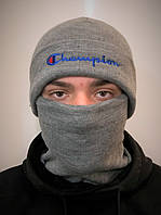 Шапка и бафф комплект мужской серый теплый зимний от Champion Чемпион