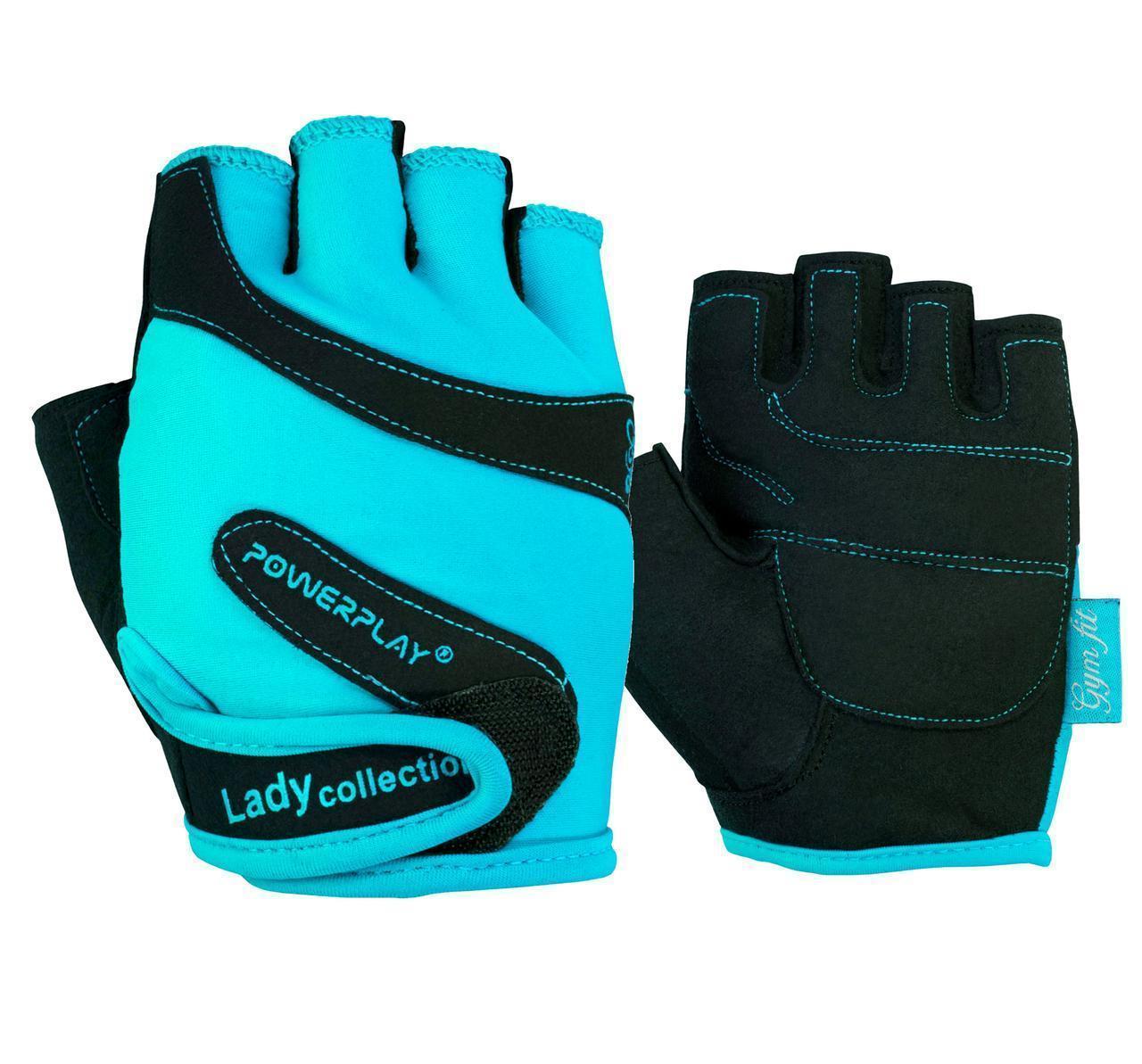 Рукавички для фітнесу PowerPlay 1729 A жіночі Блакитні M