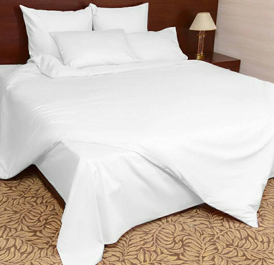 """Полуторное постельное белье сатин """"Белый"""""""