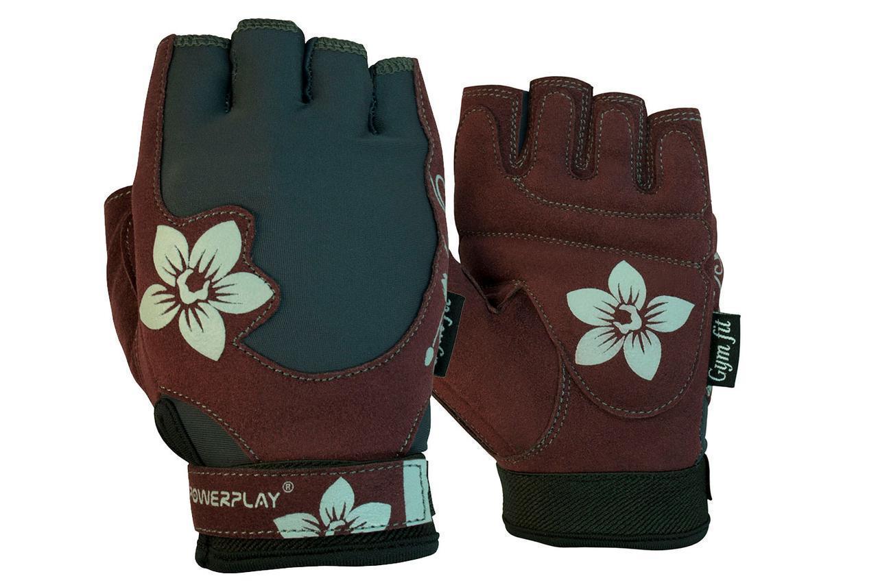 Перчатки для фитнеса и тяжелой атлетики PowerPlay 1733 женские коричневые S