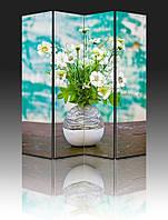 """Ширма """"Цветы в вазе на фоне крашенной стены"""", 160х180см, деревянная"""