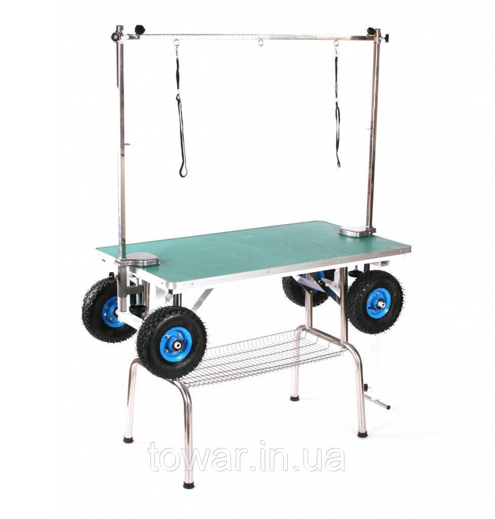 Мобильный стол тримерски Blovi, на больших прокачанных колесах, черный стол 110x60см