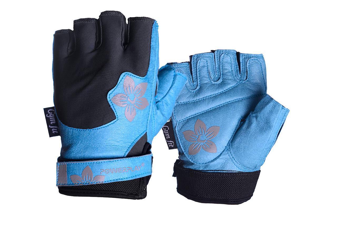 Рукавички для фітнесу PowerPlay 1733 В жіночі Чорно-Блакитні M
