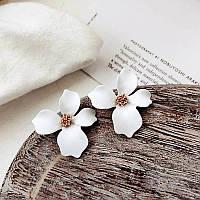 Серьги бижутерия модные серьги большие белые цветы