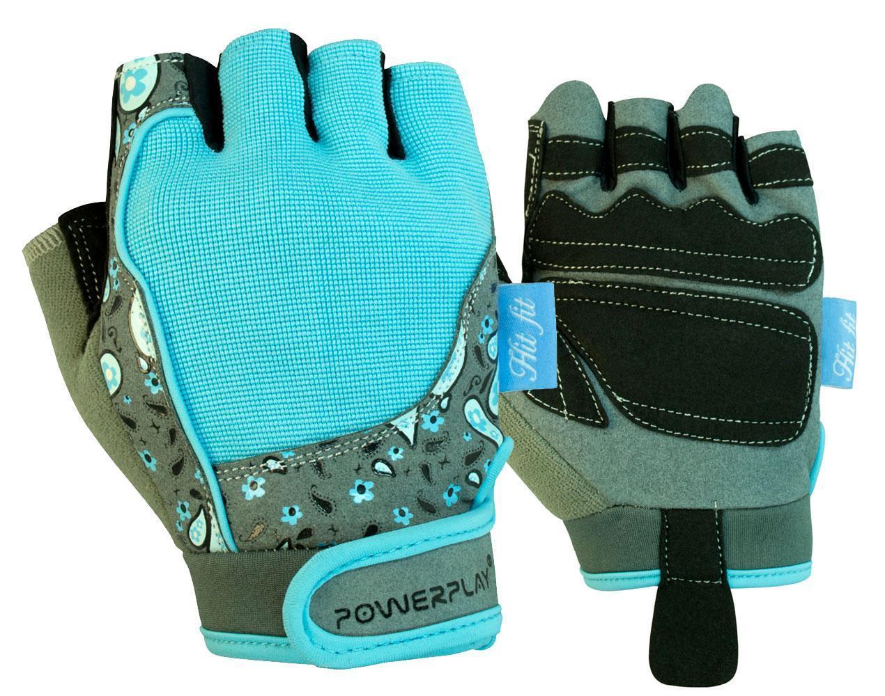 Рукавички для фітнесу PowerPlay 1735 жіночі Сіро-Блакитні XS