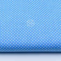 """Ткань хлопковая """"Густой горошек 2 мм"""" на тёмно-голубом фоне, №1854а"""