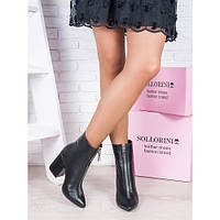 Женские кожаные демисезонные ботильоны ботинки на среднем удобном  каблуке с молнией спереди, фото 1