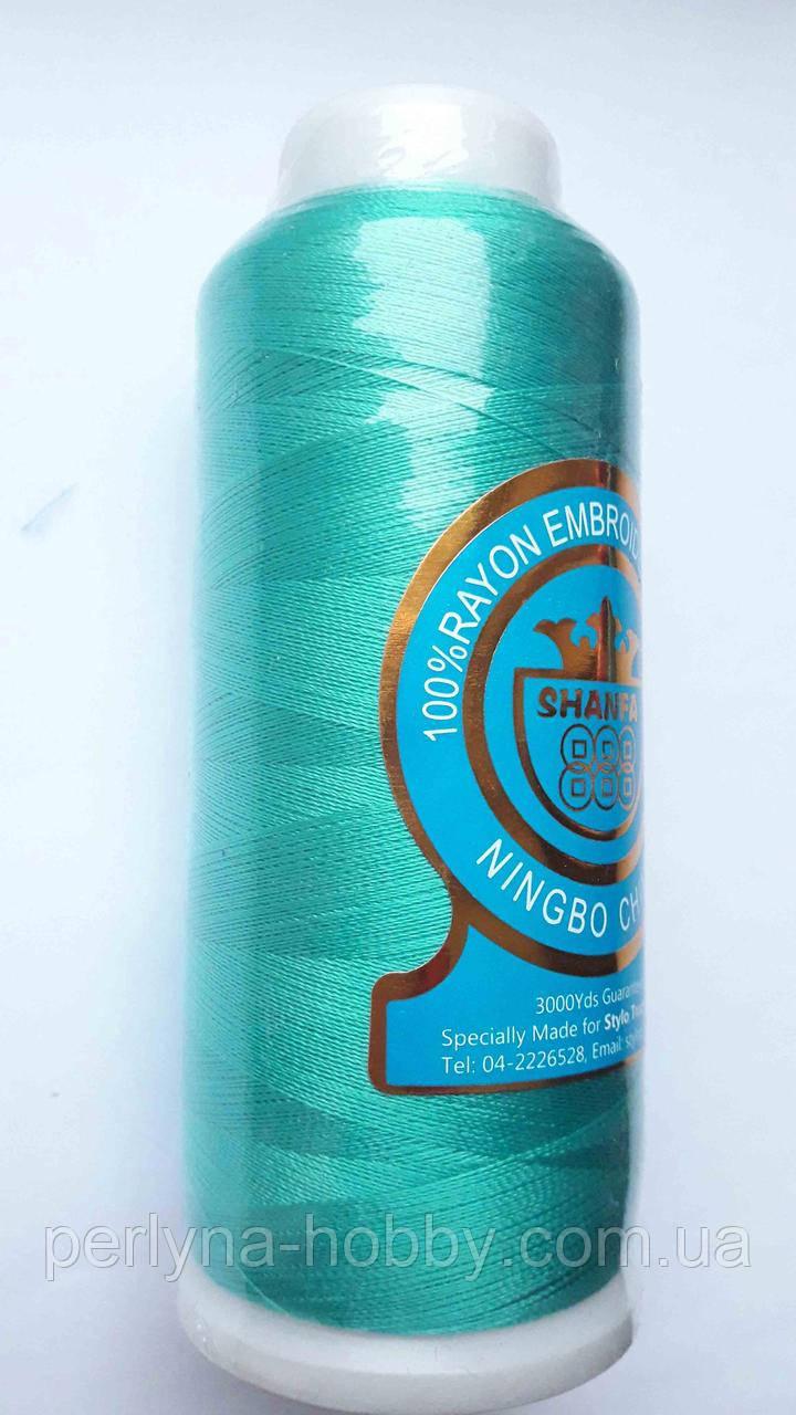 Нитки для машинной вишивки 100% вискоза  (100% rayon)  3000 метрів, 347, бірюзовий, аквамарин