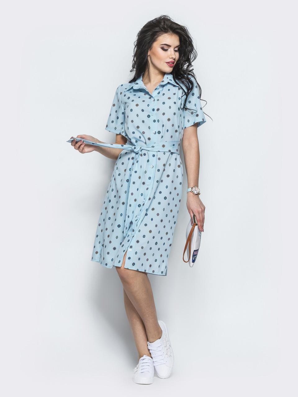 08273515560 🔰Голубое платье-рубашка в горошек   Размер 44-46