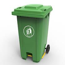 Бак для мусора с пластиковой педалью 240л., Зеленый