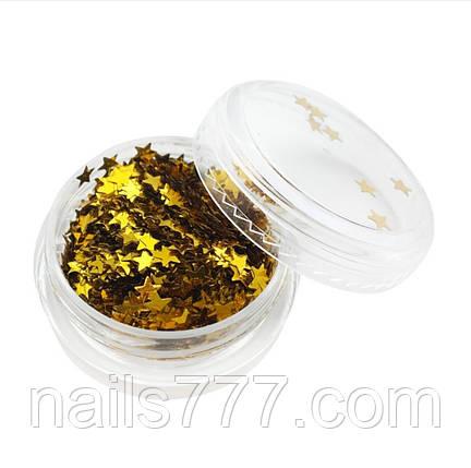 Декор для дизайна ногтей звездочки золото, фото 2