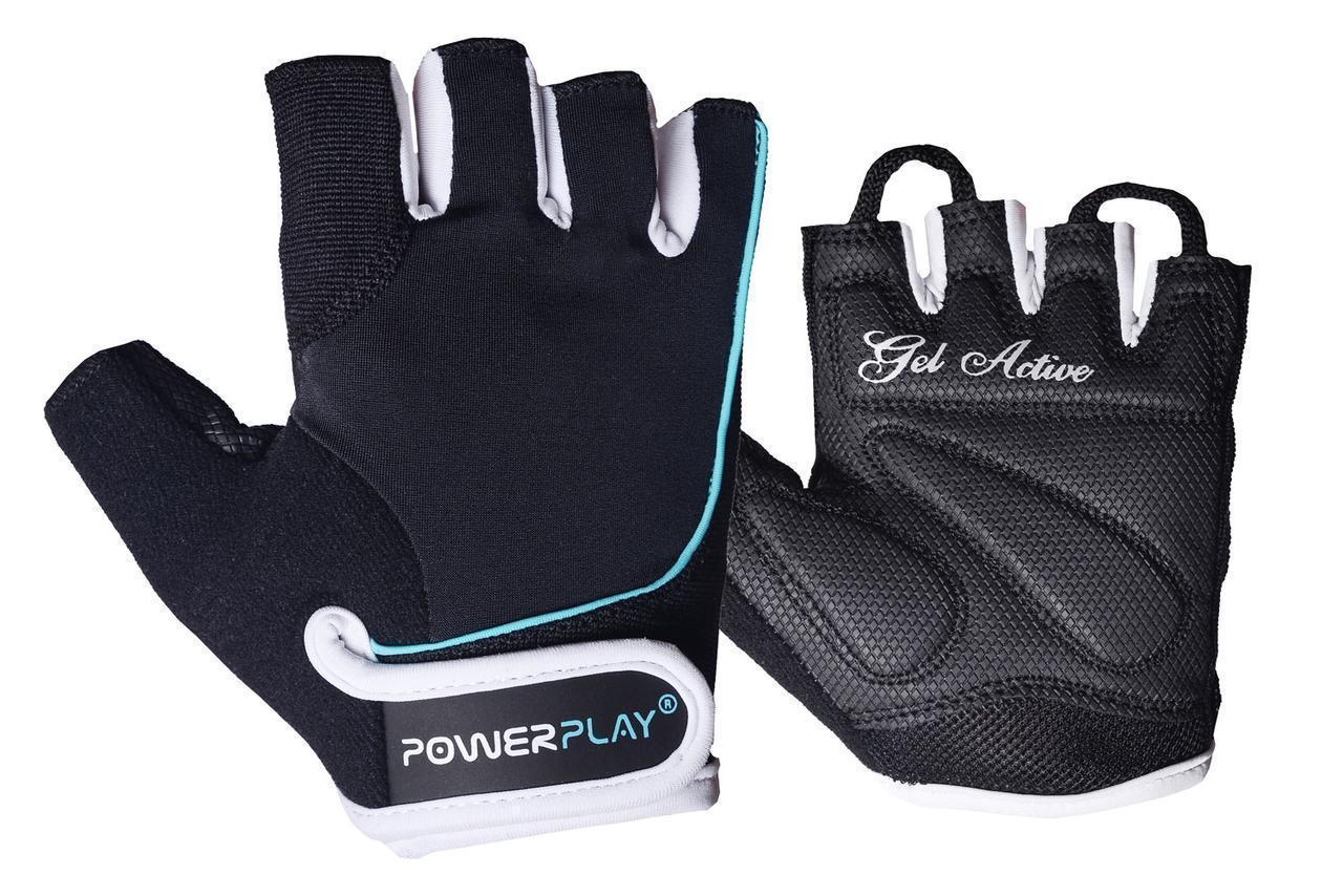 Перчатки для фитнеса PowerPlay 1750 женские черно-голубые M