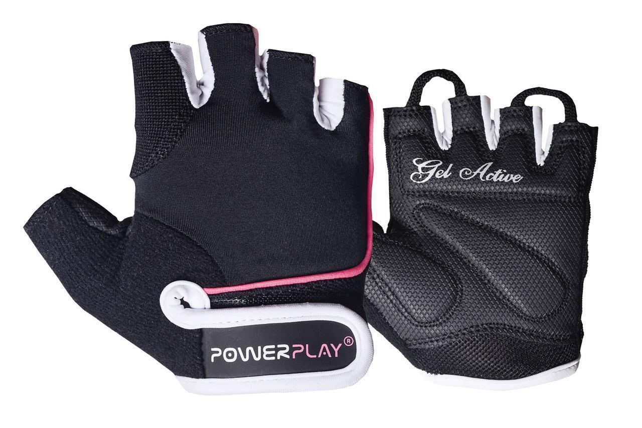 Перчатки для фитнеса PowerPlay 1750 женские черно-розовые M