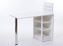 """Маникюрный стол """"Эконом плюс """" складной с стеклянными полочками"""