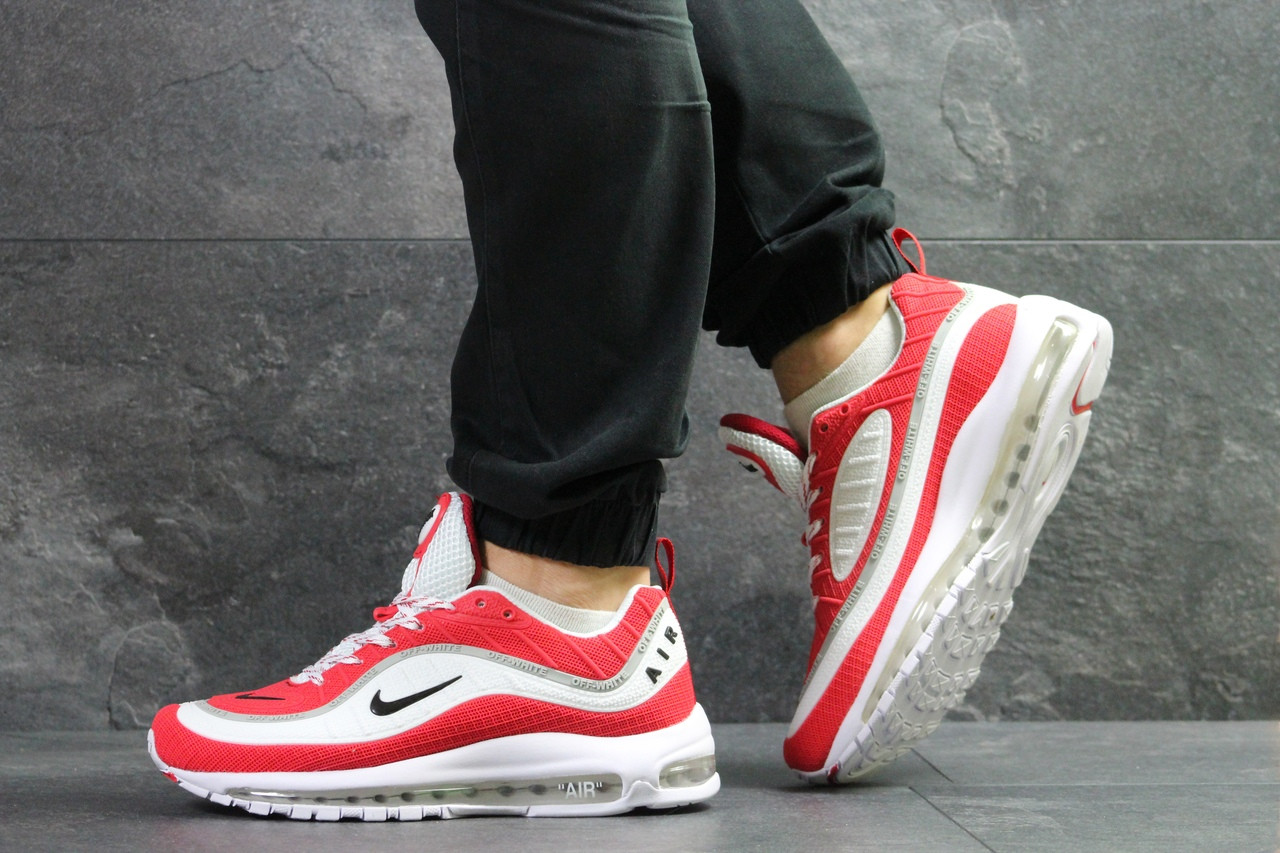 Мужские кроссовки Nike Air Max 98 Off White,белые с красным 44р