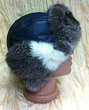 Мужская стильная  ушанка из синей плащёвки и меха  кролика 55-57