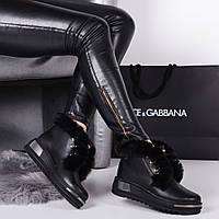Женские  зимние  ботинки  черные  натуральная кожа, фото 1