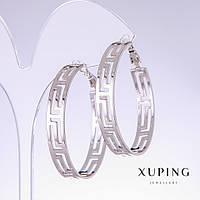 Серьги кольца Xuping греческий узор d- 40мм s-6,5мм родий 18к