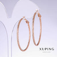 Серьги кольца Xuping с насечкой d- 40мм s-2,2мм позолота 18к