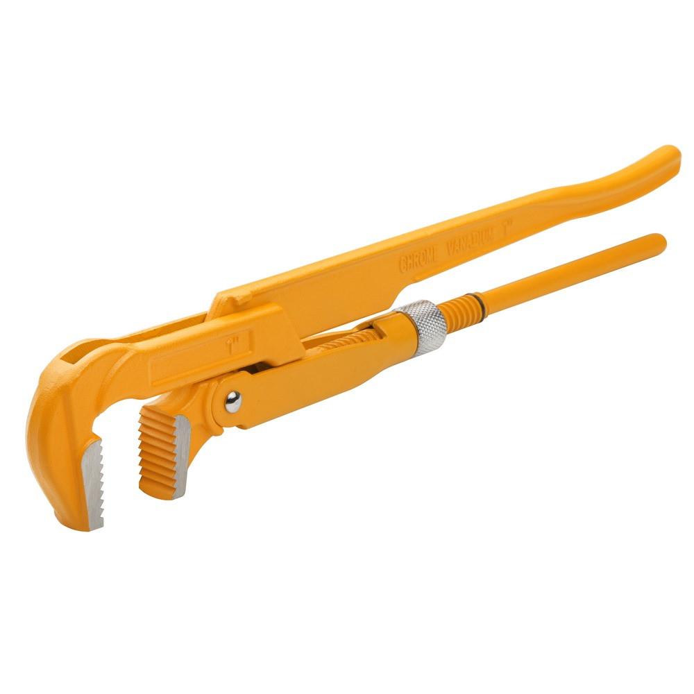 """Ключ трубный Tolsen 90 градусов 1.5"""" рычажный Cr-V  Dmax 55 мм (10252)"""