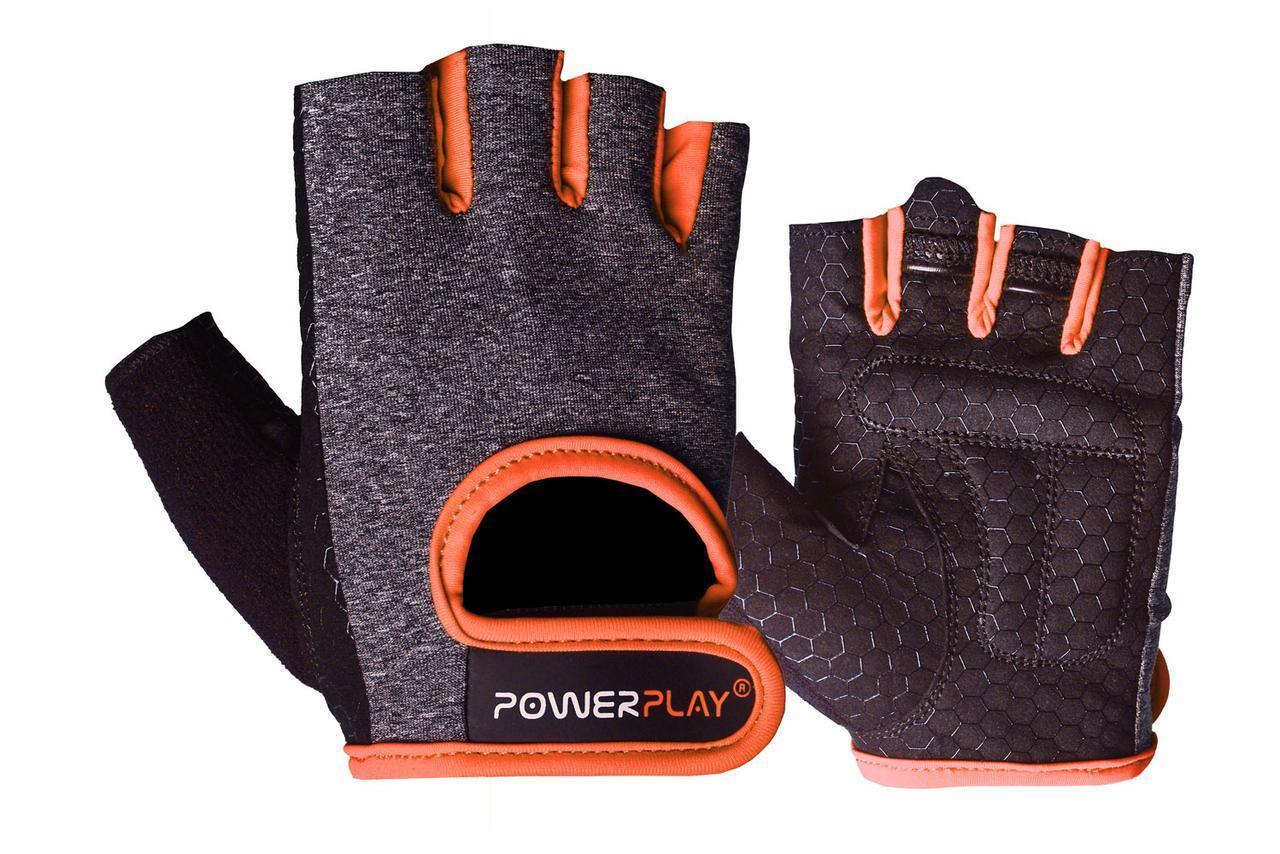 Рукавички для фітнесу PowerPlay 2935 жіночі Сіро-Помаранчеві XS